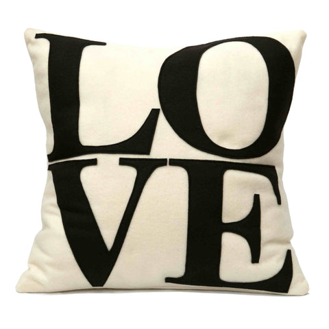 LOVE Pillow Cover Cocoa Brown on Antique White - 18 inches - Studio Arethusa  - 1
