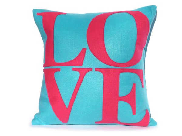 Midcentury Mod Love pillow cover in pink and teal by Studio Arethusa