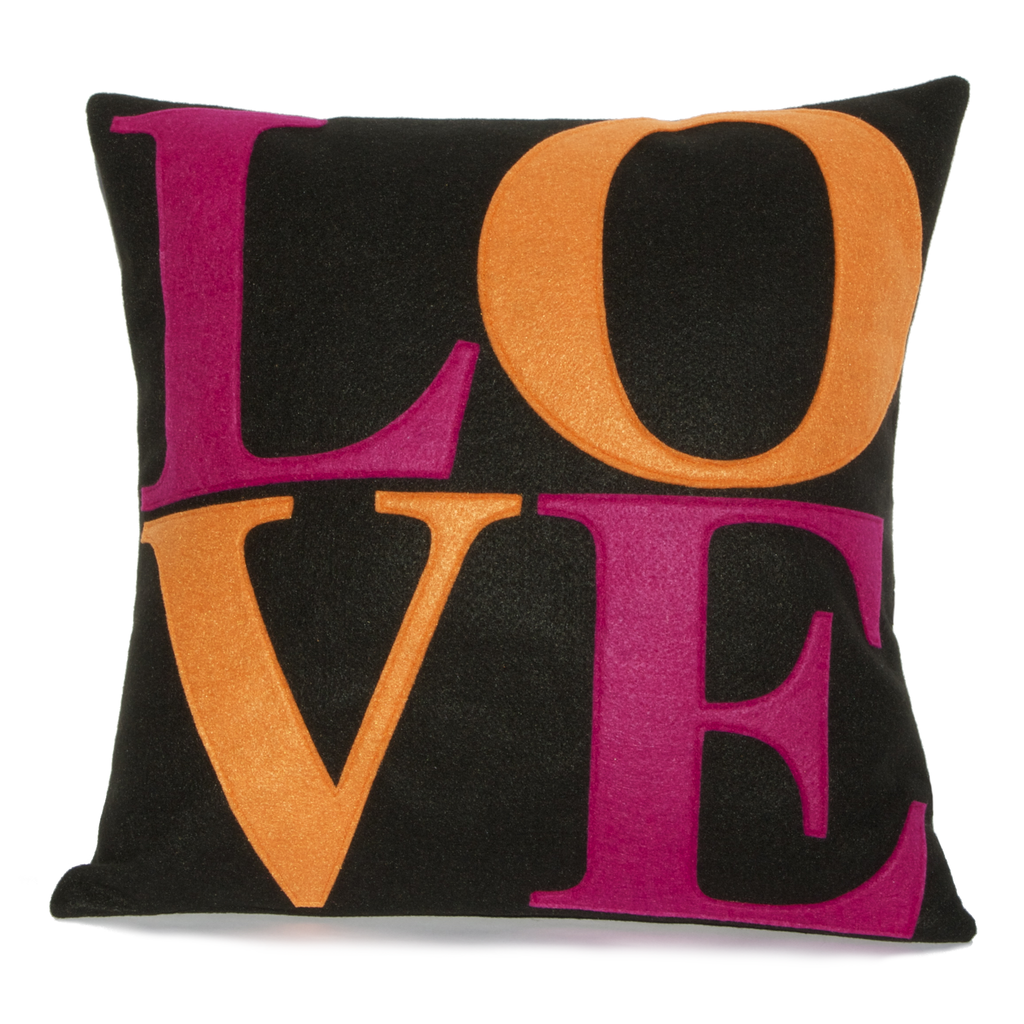 LOVE Pillow Cover Fuchsia and Orange on Black 18 inches - Mod Home Decor - Studio Arethusa