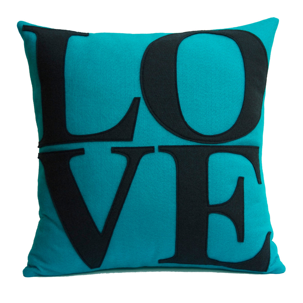 LOVE Pillow Cover Turquoise and Navy - 18 inches - Studio Arethusa