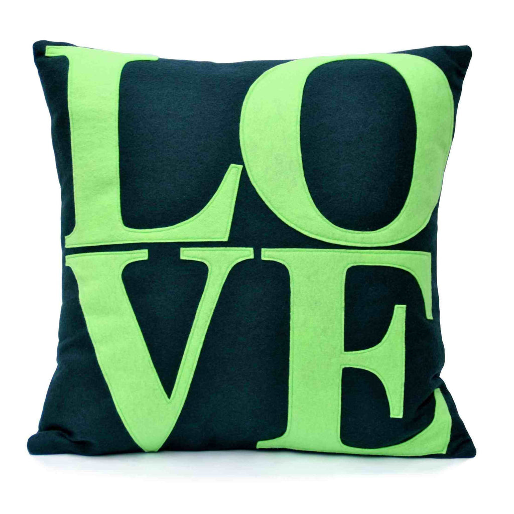 LOVE Pillow Cover Navy and Green 18 inches - Studio Arethusa