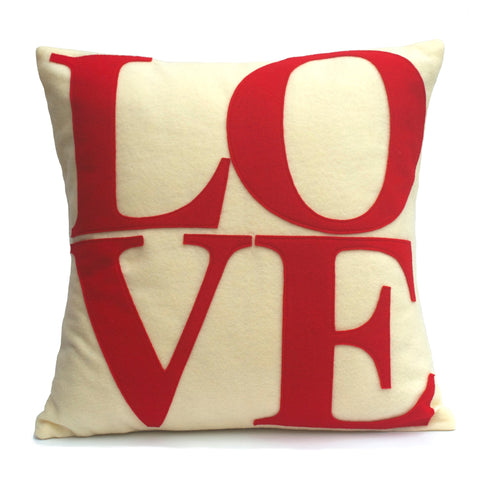 LOVE Pillow Cover Red on Antique White - 18 inches - Studio Arethusa