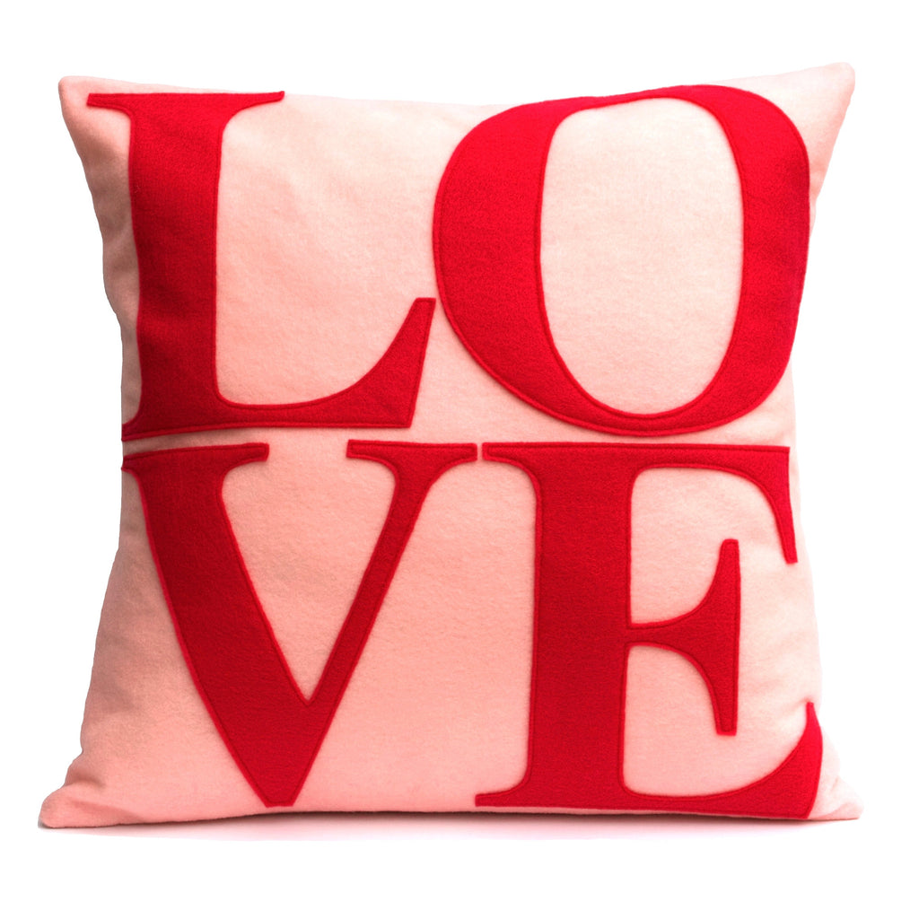 LOVE Pillow Cover Red on Baby Pink - 18 inches - Studio Arethusa