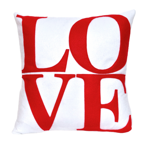 LOVE Pillow Cover Red on Pure White - 18 inches - Studio Arethusa  - 1