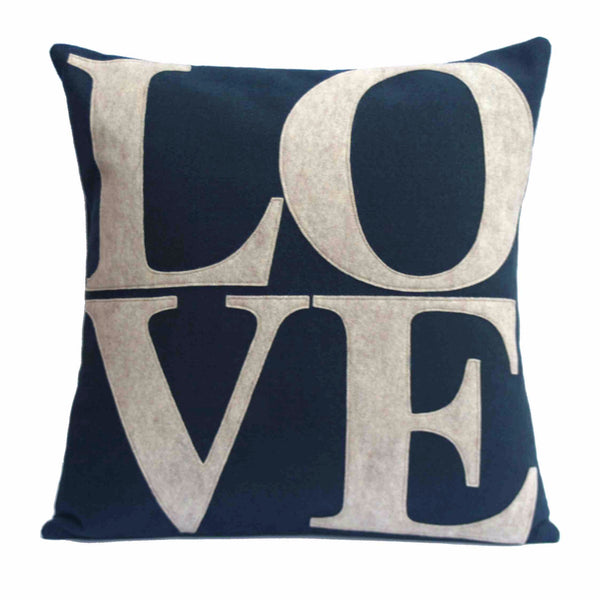 LOVE Pillow Cover Sandstone on Navy Blue  - 18 inches - Studio Arethusa  - 1