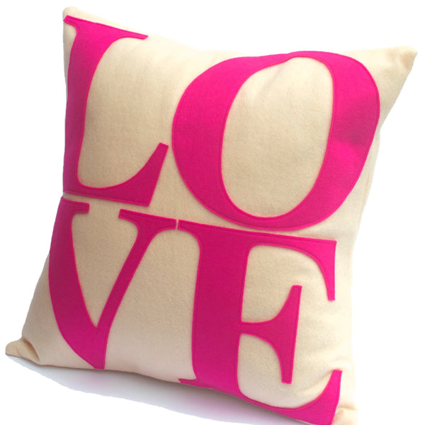 LOVE Pillow Cover Pink and Antique White 18 inch - Studio Arethusa  - 1
