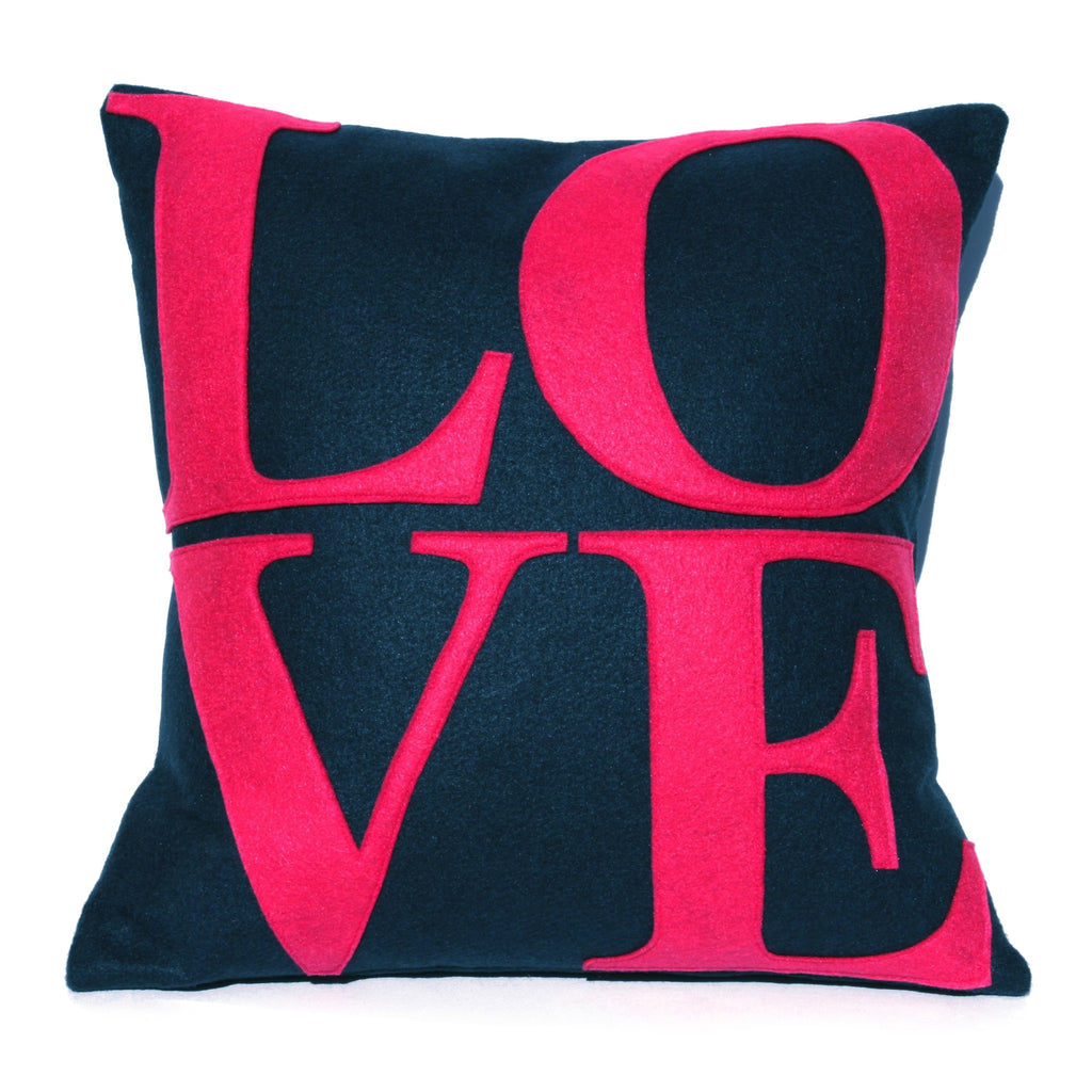 LOVE Pillow Cover Shocking Pink on Navy Blue  - 18 inches - Studio Arethusa  - 1
