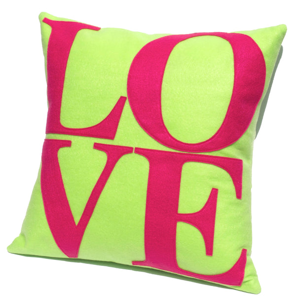LOVE Pillow Cover Spring Green and Pink 18 inches - Studio Arethusa  - 1