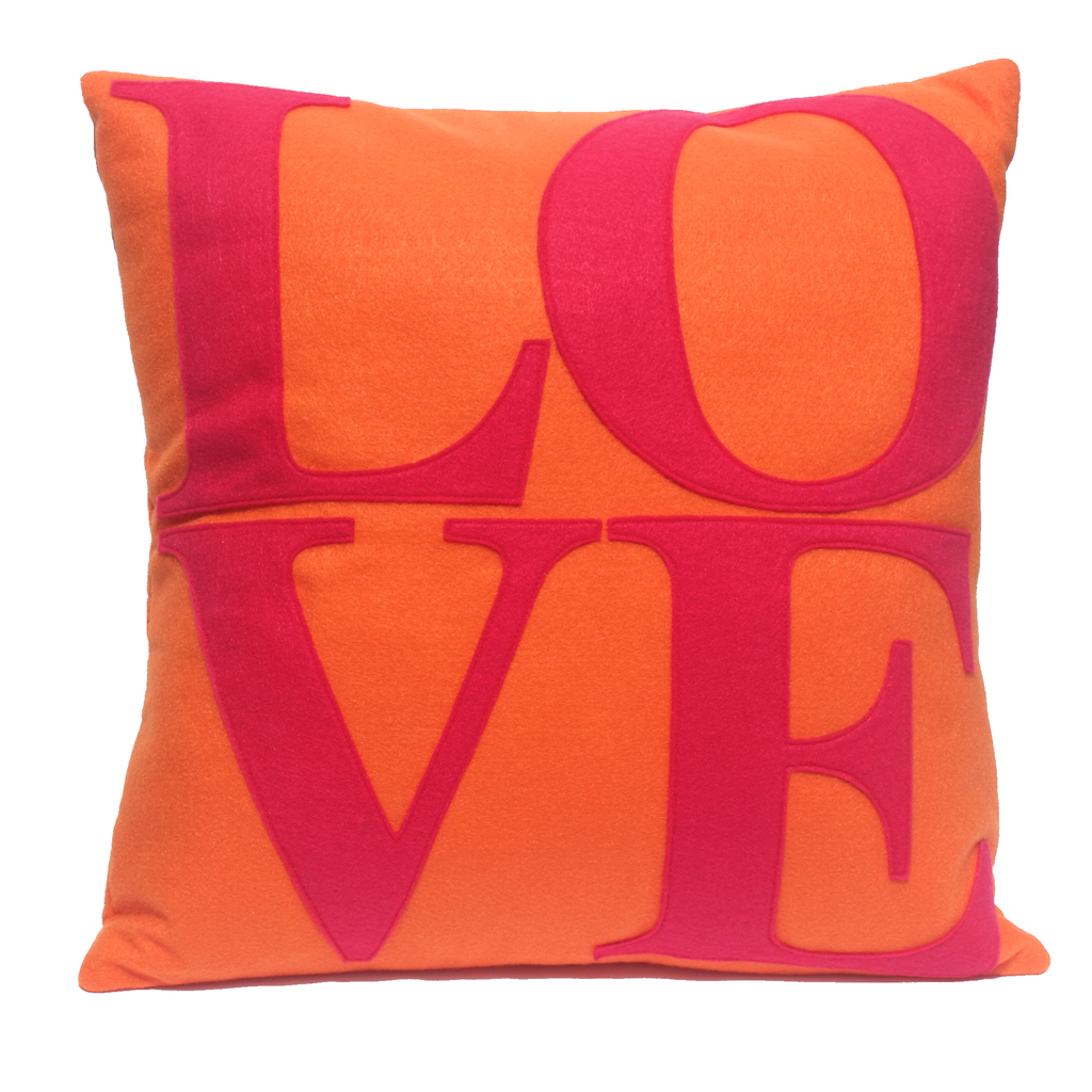 LOVE Pillow Cover Pink and Orange 18 inches - Studio Arethusa