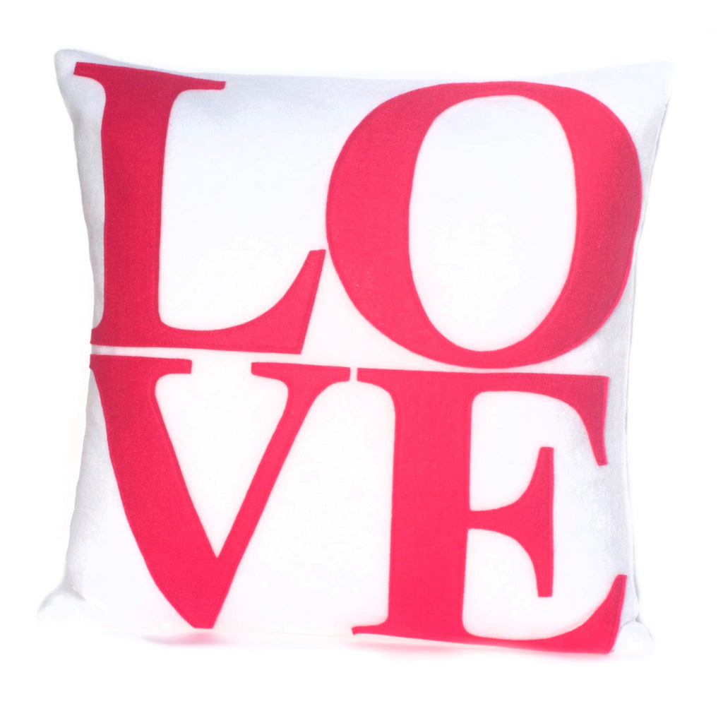 LOVE Pillow Cover Pink on Pure White - 18 inches - Studio Arethusa