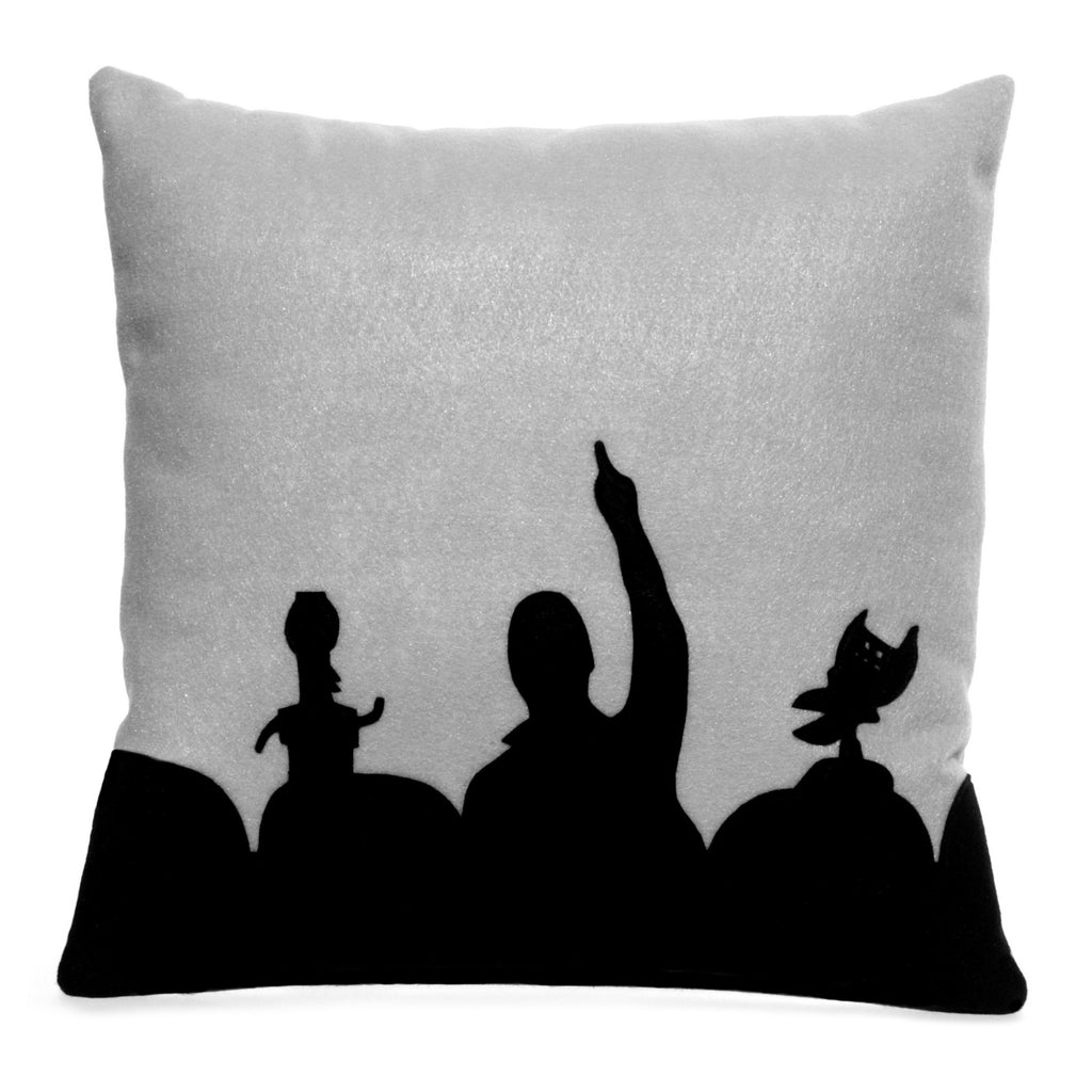 MST3K Pillow Cover in Black and Silver - 18 inches - Studio Arethusa  - 1