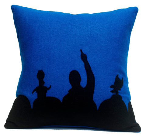 MST3K Pillow Cover in Black and Blue - 18 inches - Studio Arethusa  - 1
