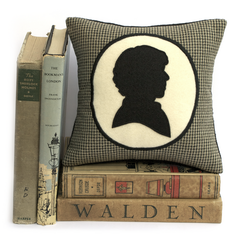 Modern Sherlock Holmes Houndstooth Shadow Silhouette Bookshelf Pillow - Studio Arethusa  - 1