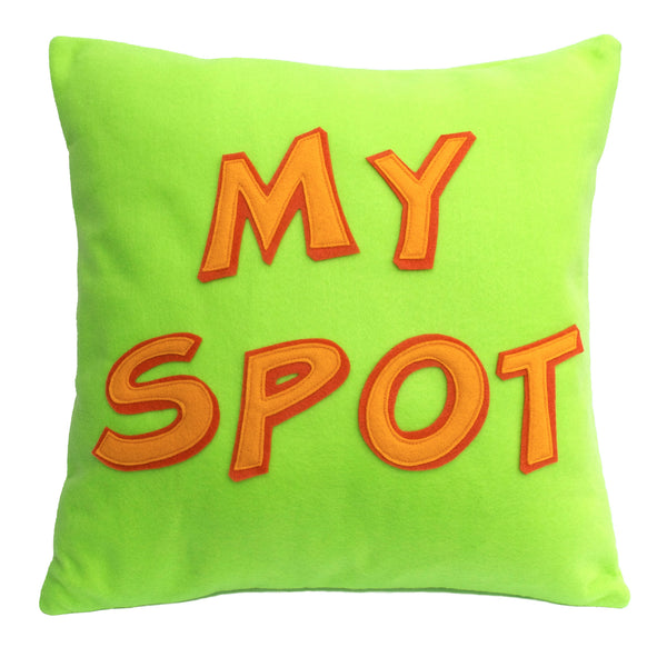 My Spot Pillow Cover in Neon Green, Orange, and Tangerine - 18 inches - Studio Arethusa  - 1