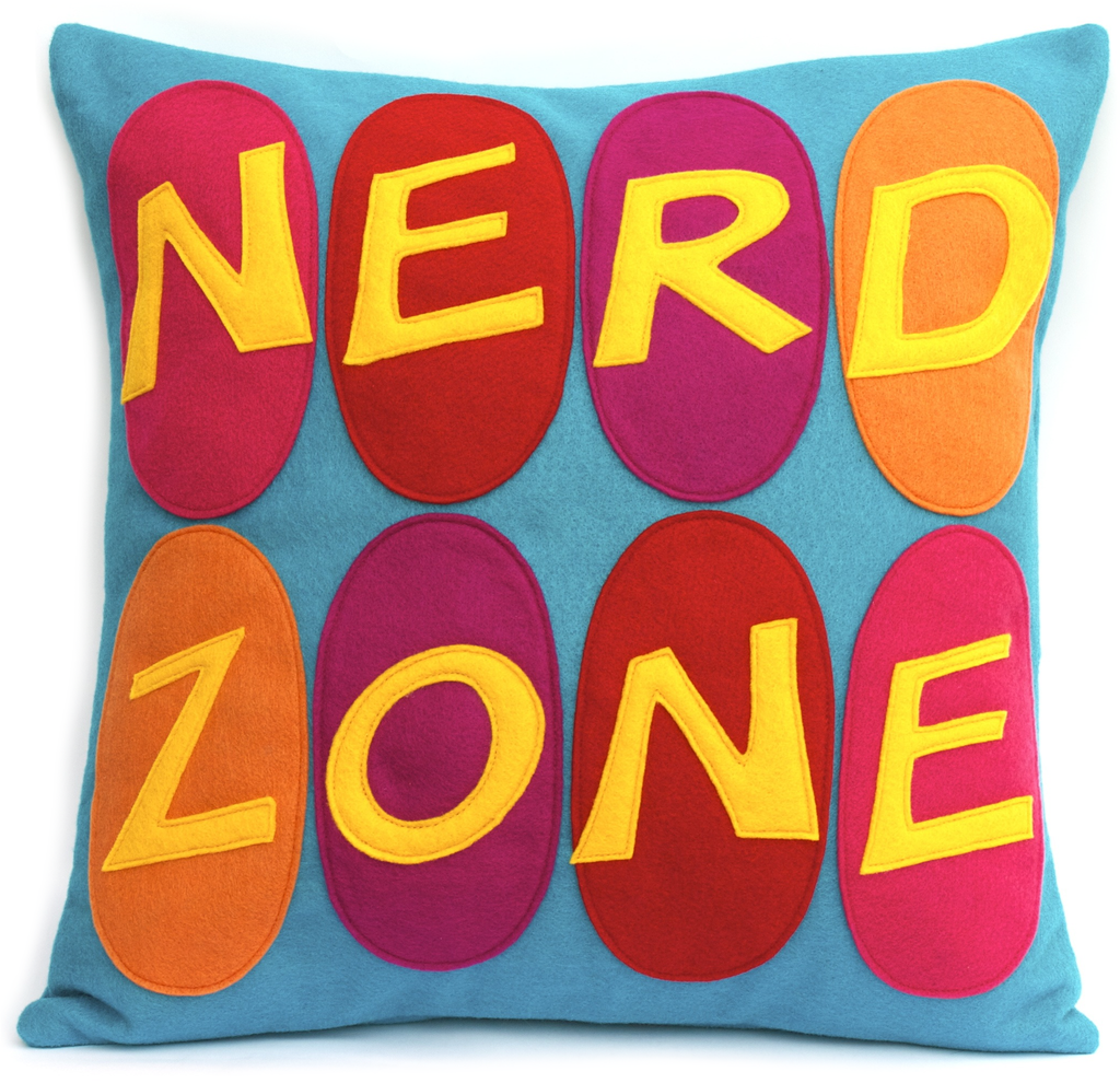 Nerd Zone Pillow Cover Gold, Orange, Pink, Red, and Fuchsia on Peacock - 18 inches - Studio Arethusa  - 1