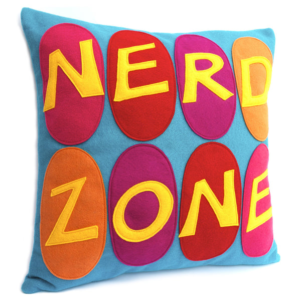 Nerd Zone Pillow Cover Gold, Orange, Pink, Red, and Fuchsia on Peacock - 18 inches - Studio Arethusa  - 2