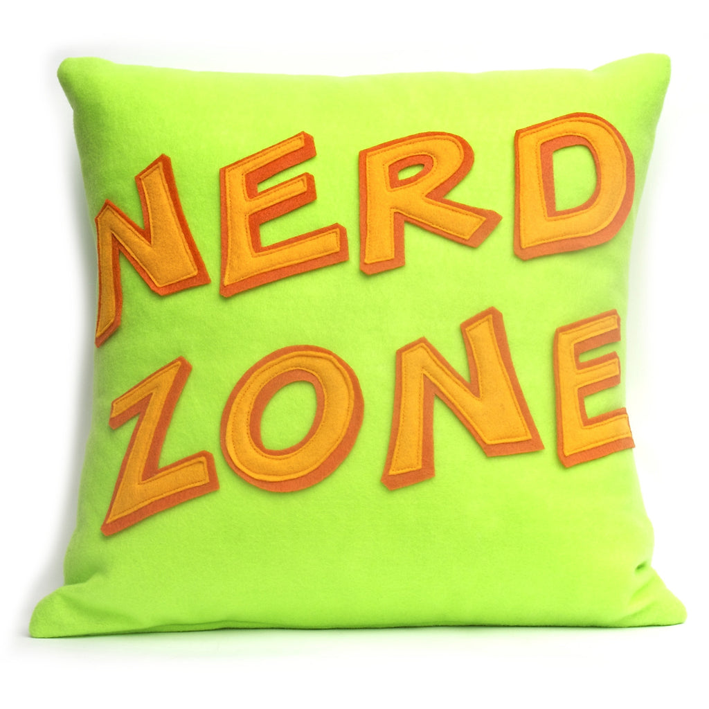 Nerd Zone Pillow Cover in Neon Green, Orange, and Tangerine - 18 inches - Studio Arethusa  - 1