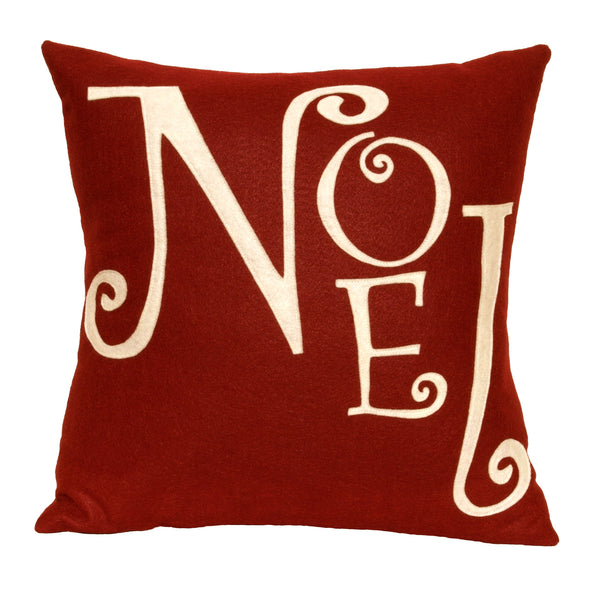 Joy - Appliqued Pillow Cover in Ruby Red and Antique White - 18 inches - Studio Arethusa  - 3