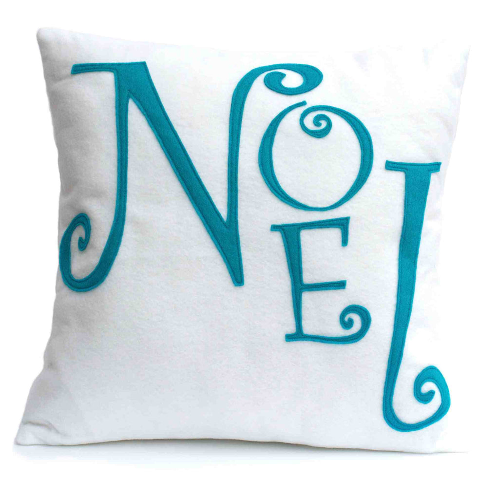 Noel - Appliqued Eco-Felt Throw Pillow Cover in Peacock and White - 18 inches - Studio Arethusa  - 1