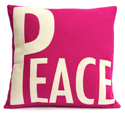 Peace Throw Pillow Cover Antique White on Fuchsia - 18 inches - Studio Arethusa  - 1