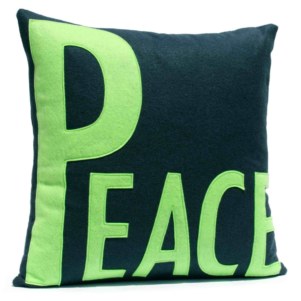 Peace Appliqued Eco-Felt Pillow Cover Navy and Green - 18 inch Pillow Cover - Studio Arethusa