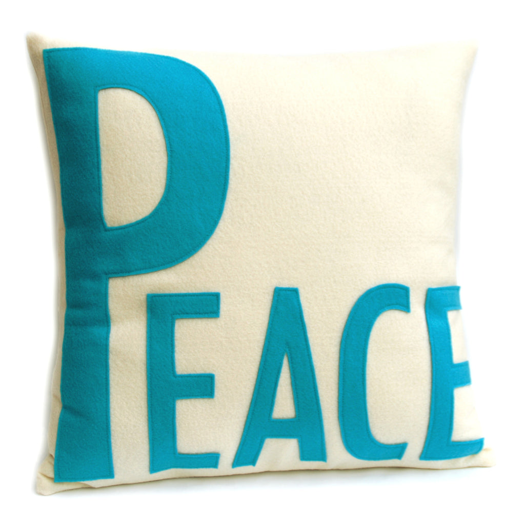 Peace Appliqued Eco-Felt Pillow Cover Peacock and Antique White - 18 inches - Studio Arethusa