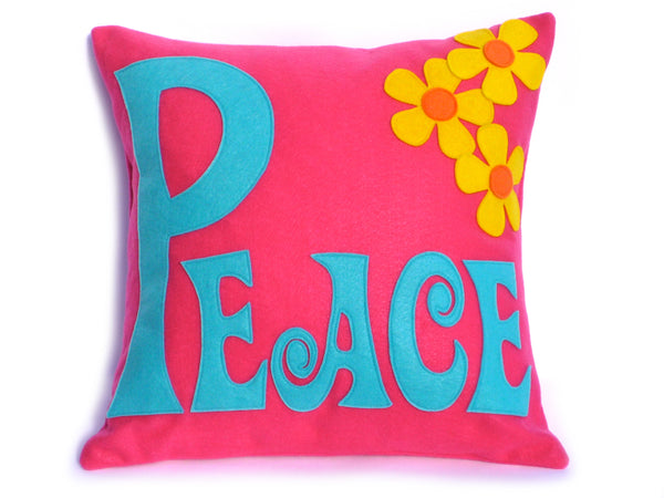 Groovy Peace pillow cover with spring flowers by Studio Arethusa