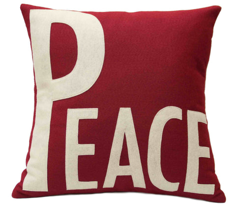 Peace Appliqued Eco-Felt Pillow Cover Ruby Red and Antique White - Studio Arethusa