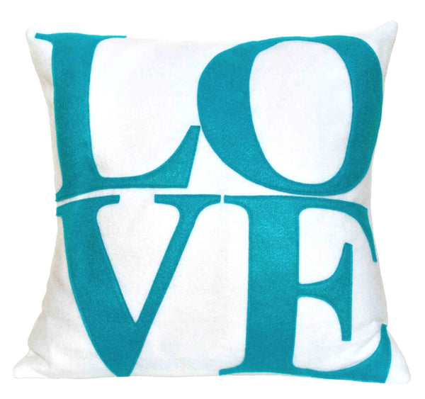 LOVE Pillow Cover Peacock on Pure White - 18 inches - Studio Arethusa  - 1