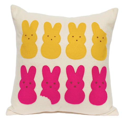 Marshmallow Bunnies - 18 inch Eco Felt Easter Pillow Cover in Yellow and Pink on Antique White - Studio Arethusa