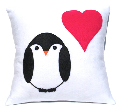 Penguin Love Pillow Cover 18 inches - Studio Arethusa  - 1