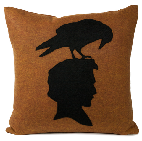 Edgar Allen Poe and Raven shadow silhouette Pillow Cover by Studio Arethusa