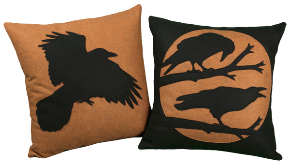 Studio Arethusa Raven pillows in copper and black