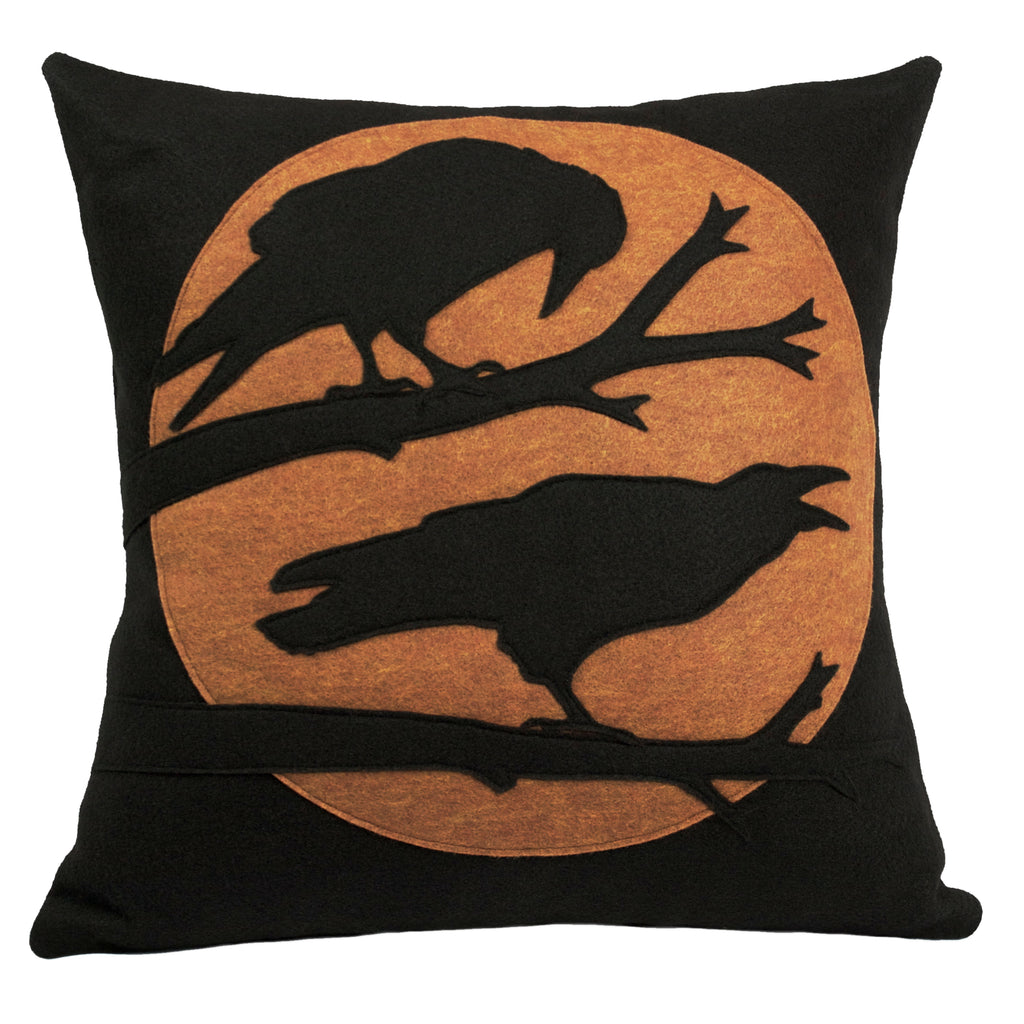 Studio Arethusa Perched Ravens Pillow Cover in Copper and Black
