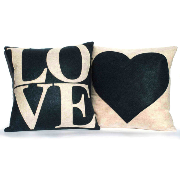 LOVE and Heart Coordinating Sandstone and Navy Pillow Covers  - 18 inches - Studio Arethusa  - 1
