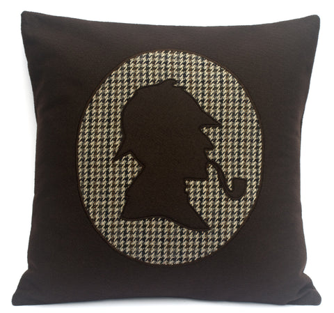 Sherlock Holmes Eco Felt and Houndstooth Pillow Cover 18 inch - Studio Arethusa  - 1