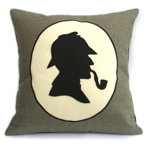 Classic Sherlock Holmes Houndstooth Pillow Cover 18 inch - Studio Arethusa  - 1