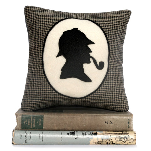 Sherlock Holmes Book Lovers Bookshelf Pillow Houndstooth Shadow Silhouette - Studio Arethusa  - 1