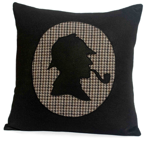 Sherlock Holmes Dramatic Black Eco Felt and Houndstooth Pillow Cover 18 inch - Studio Arethusa  - 1