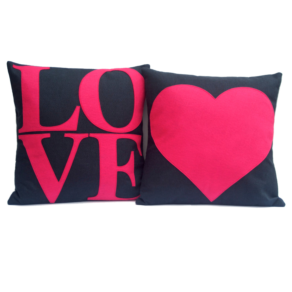 LOVE and Heart Matching Pink and Navy Pillow Covers  - 18 inches - Studio Arethusa  - 1