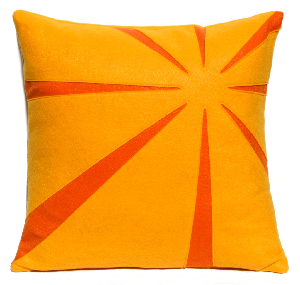 Tangerine Sunrise Eco-Felt Pillow Cover 18 inches - Studio Arethusa  - 1