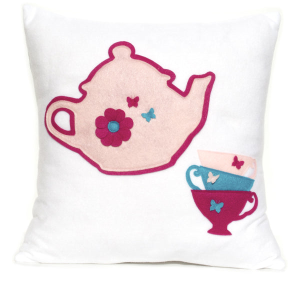 Tea Party Eco-Felt Pillow Cover - 18 inches - Baby Pink, Shocking Pink, and Turquoise - Studio Arethusa  - 1
