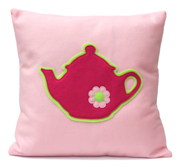 Pink Teapot Eco-Felt Pillow Cover - 18 inches - Baby Pink and Shocking Pink - Studio Arethusa  - 1