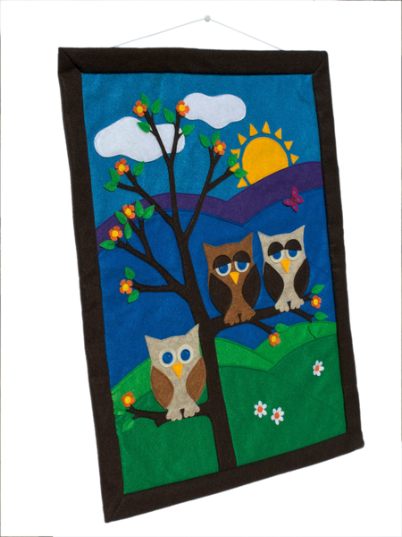 Large Wall Banner - Family of Three done in Felt Appliqué - Studio Arethusa