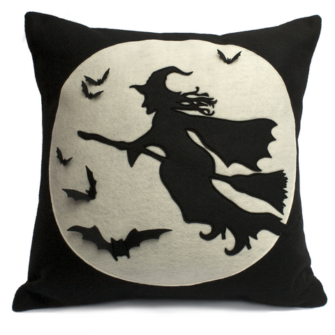 Flight of The Witch Pillow Cover - Full Moon Series 18 inches - Studio Arethusa  - 1