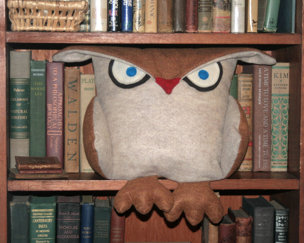 Disgruntled Owl - 12 inch eco felt pillow cover oatmeal and copper - Studio Arethusa  - 3