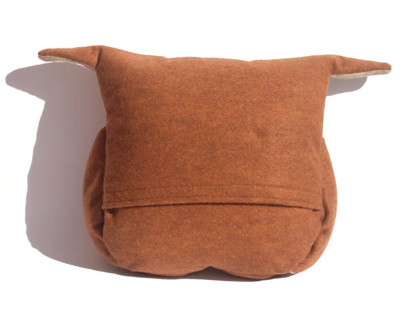 Disgruntled Owl - 12 inch eco felt pillow cover oatmeal and copper - Studio Arethusa  - 4