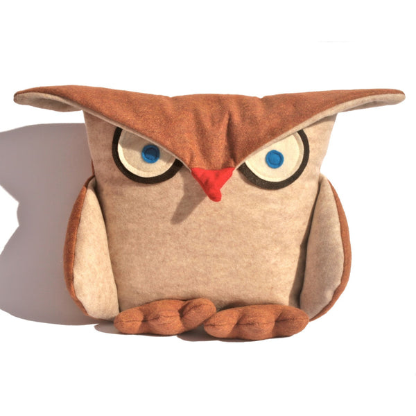 Disgruntled Owl - 12 inch eco felt pillow cover oatmeal and copper - Studio Arethusa  - 2