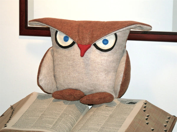 Disgruntled Owl - 12 inch eco felt pillow cover oatmeal and copper - Studio Arethusa  - 5