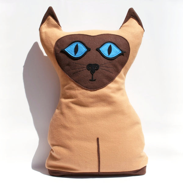 Big Kitty - Large Eco Felt Siamese Cat Pillow Cover - Studio Arethusa  - 2